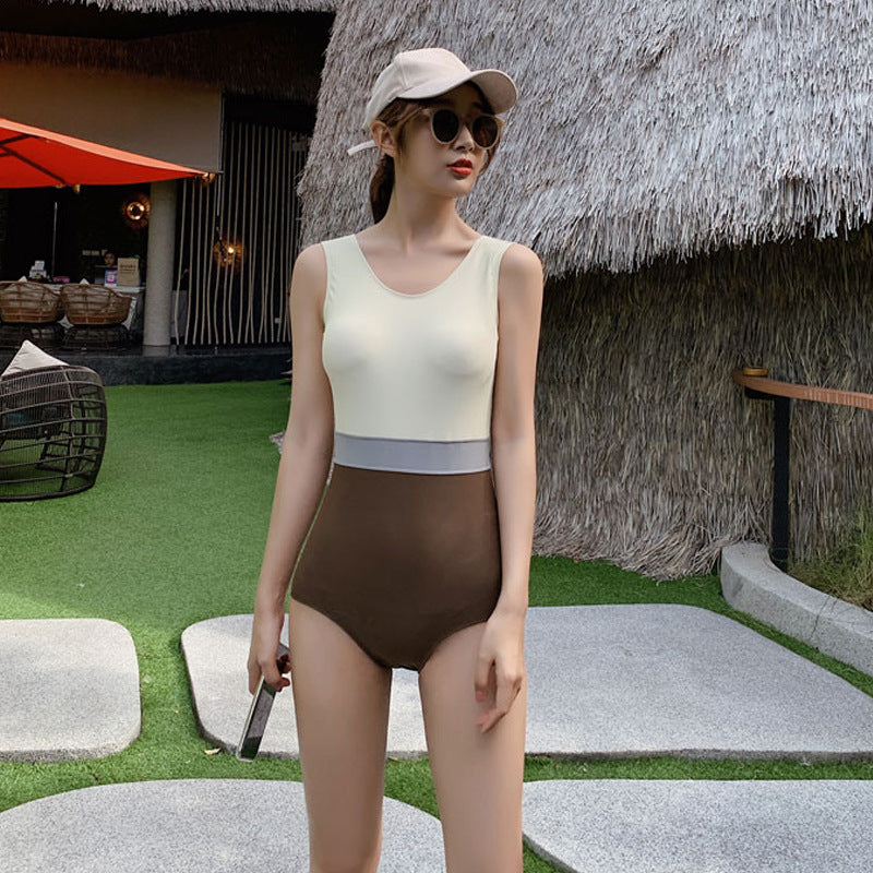 Beach Swimming V-neck Colorblock Swimsuit