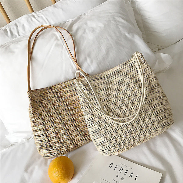 Beach Casual Woven Shoulder Bucket Bag
