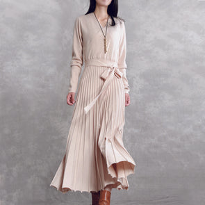 Belt Knit Pleats Long Elegant Dress Solid