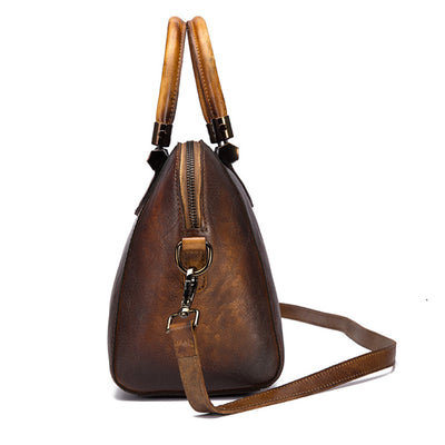 Bicolors Leather Retro Shoulder Bag for Women