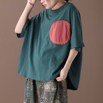 Big Dot Patchwork Contrast Color Cotton T-shirt