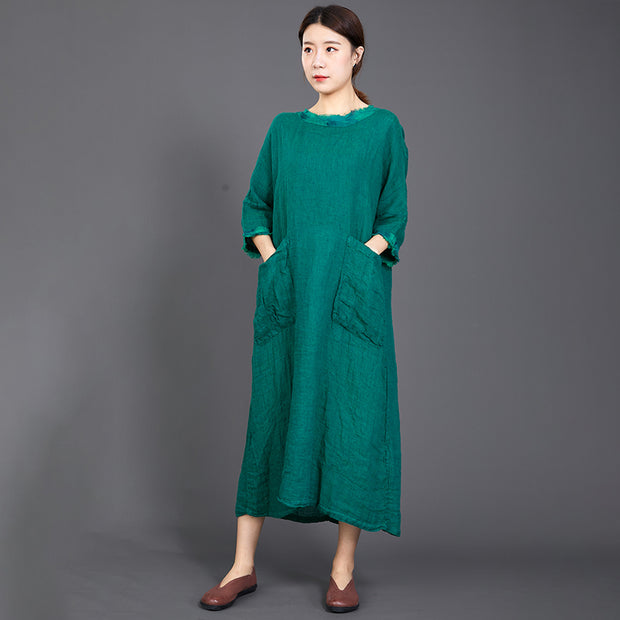 Big Pockets Casual Round Collar Loose Dress