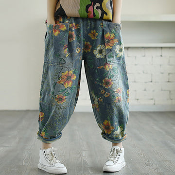 Big Pockets Flower Printed Casual Jeans