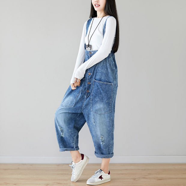 Big Pockets Frayed Buttons Casual Jumpsuit