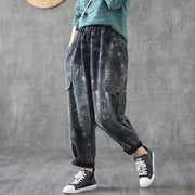 Big Pockets Loose Printed Casual Harem Jeans