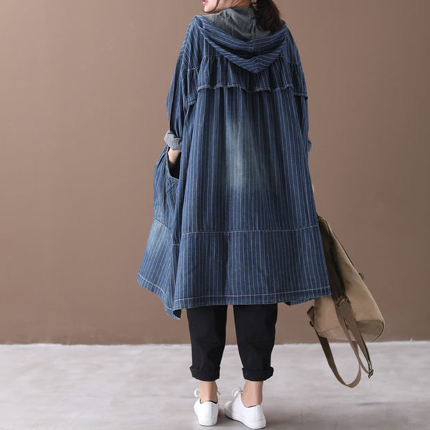 Big Pockets Striped Casual Loose Denim Coat