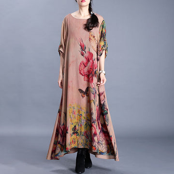 Bird Butterfly Flower Printed Loose Dress