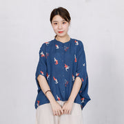 Bird Embroidery Casual Loose Single Breasted Shirt
