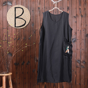 Bird Embroidery Sleeveless Loose Summer Dress