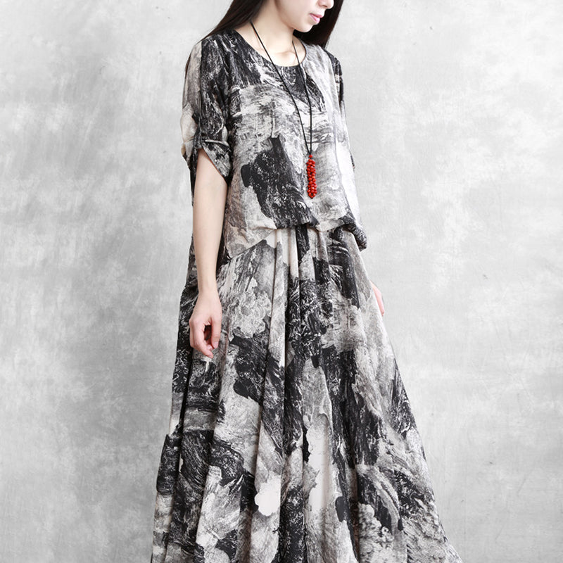 Black And White Print Chiffon Loose O-neck Dress