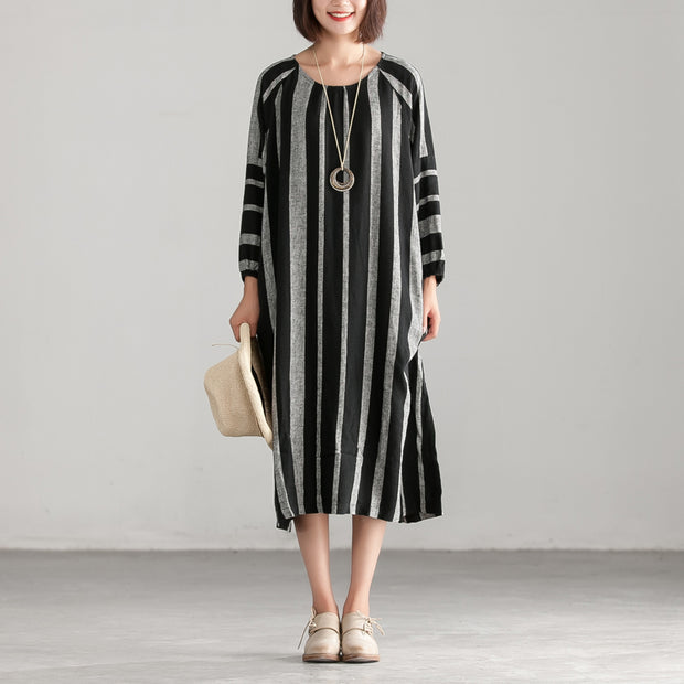 Black And Gary Stripe Casual Loose Dress
