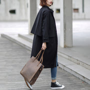 Black British Style Women Long Trench Coat