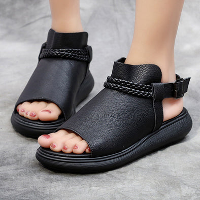 Black Casual Leather Women Flat Sandals