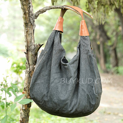 Black Casual Women Large Linen Shoulder Bag