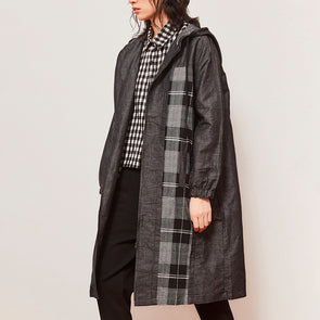 Black Denim Retro Hooded Coat Loose