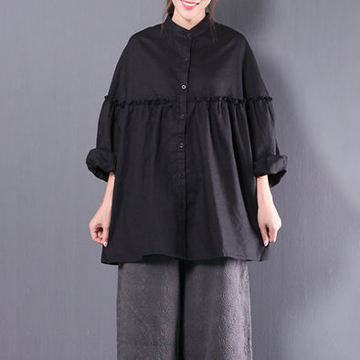 Black Linen Cotton Women Shirring Blouse