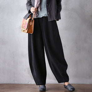 Black Linen Lantern Pants Loose Plus Size