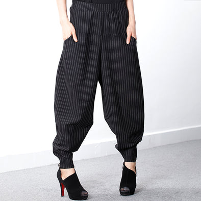 Black Plus Size Female Stripe Harem Pants
