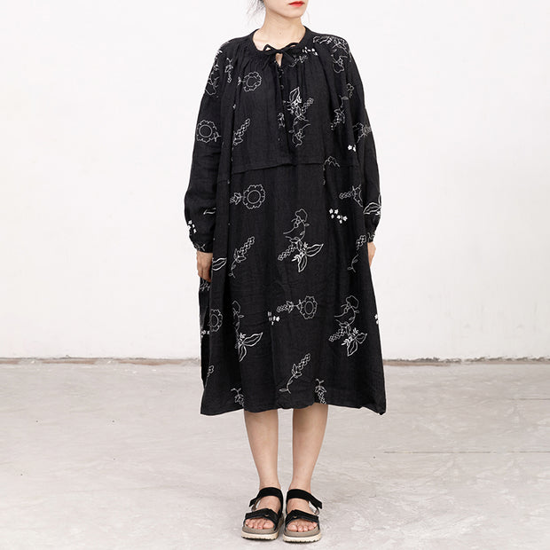 Black Printed Lacing Long Sleeve Autumn Dress