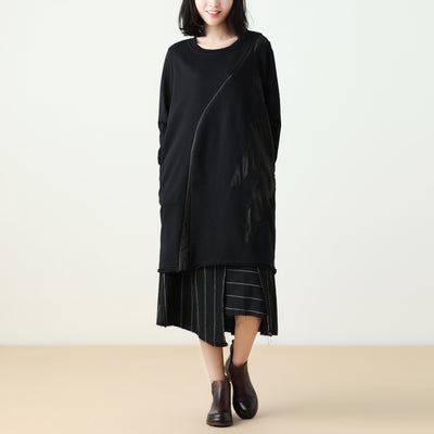 Women Loose Casual Black Splice Dress