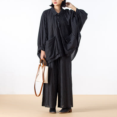 Black Stripe Women Autumn Loose Linen Suit