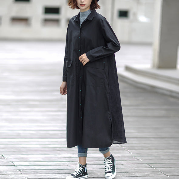 Black Women Long Type Cotton Loose Coat