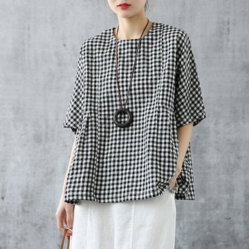 Black and White Check Cotton Linen Summer T-shirt