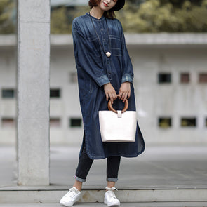 Blue Autumn Casual Cotton Solid Slit Denim Dress