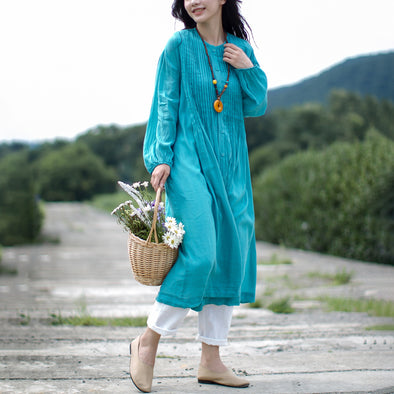 Blue Linen Long Sleeve Dress Plus Size