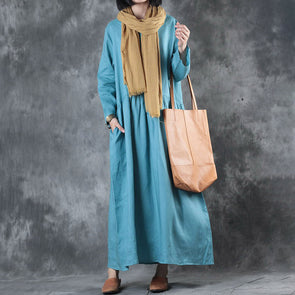 Blue Linen Plus Size Loose Maxi Dress