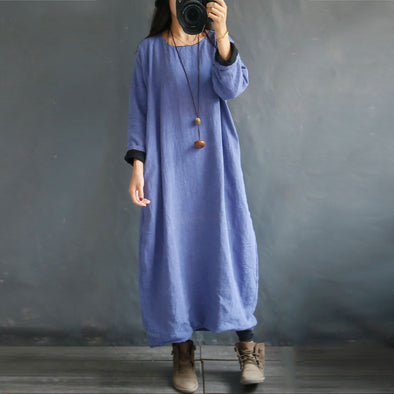 Blue Women Casual Loose Midi linen Dress