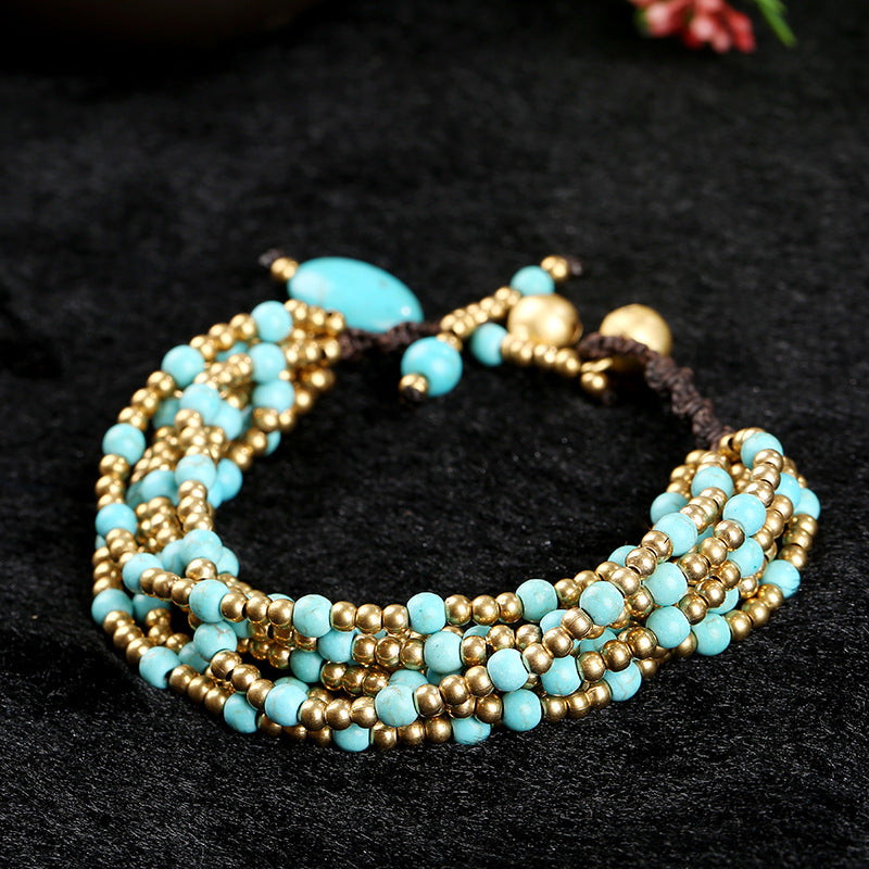 Bohemian Copper Bells Turquoise Beaded Bracelet