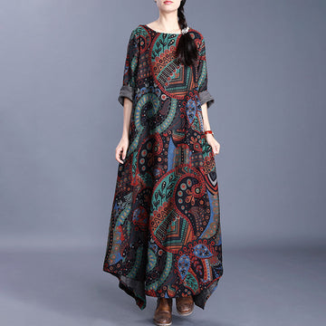 Bohemian Print Loose Long Sleeve Cotton Linen Dress