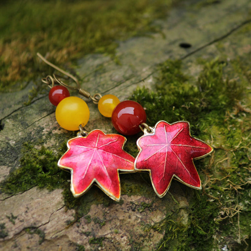 Bohemian Style Maple Leaf Earrings