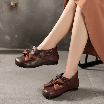 Bowknot Hollow Stitching Leather Flat Shoes