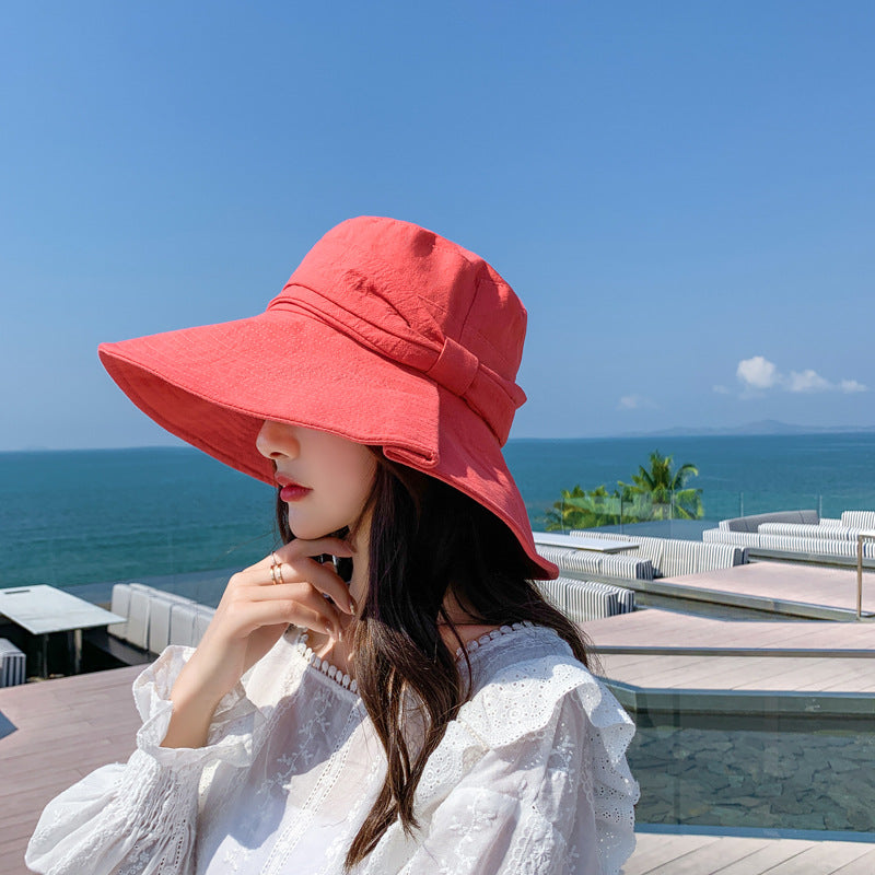 Bowknot Design Folded Sunscreen Bucket Hat