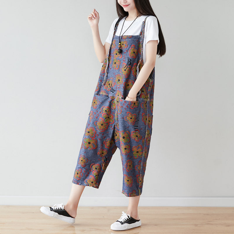 Braided Shoulder Strap Floral Hole Denim Jumpsuit