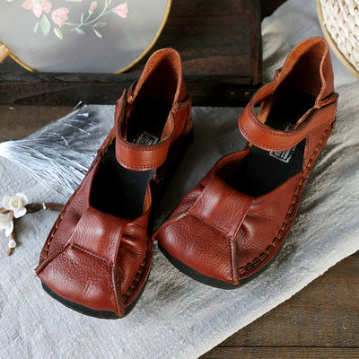 Brown Women Leather Fashion Wedges