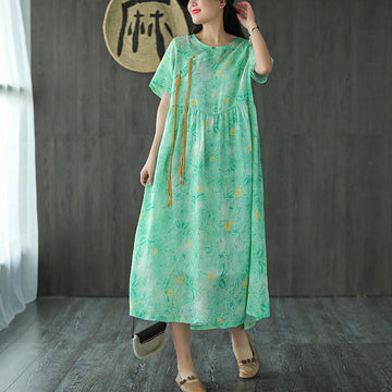 Buckle Pocket Floral Print 100% Ramie Dress