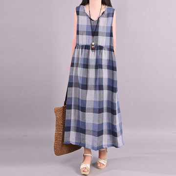 Burr Plaid Sleeveless Linen Maxi Dress