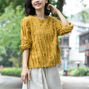 Burrs Solid Fashion Long Sleeve Jacquard Short Top