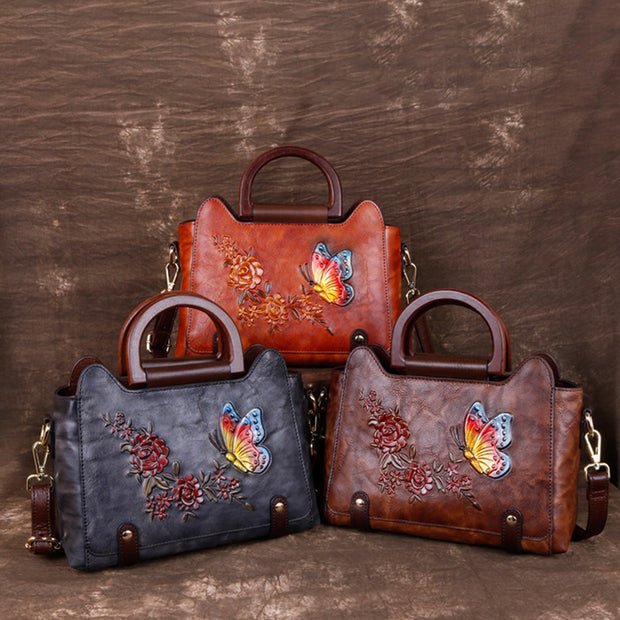 Butterfly And Flower Embossing Shoulder Bag