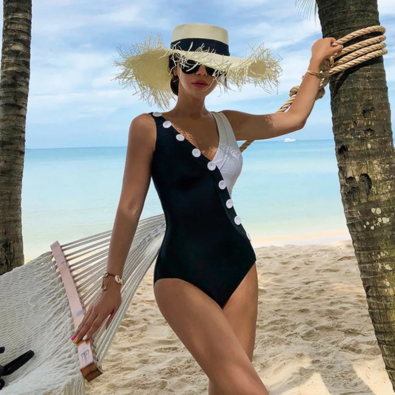 Button V Neck Summer One-piece Bikini
