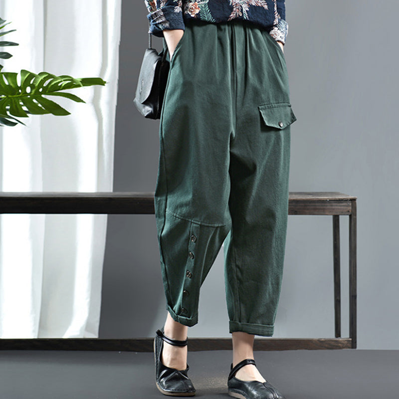 Button Decoration Casual Harem Pants