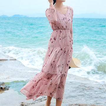 Buttoned Ruffle Layer Bohemian Dress For Women
