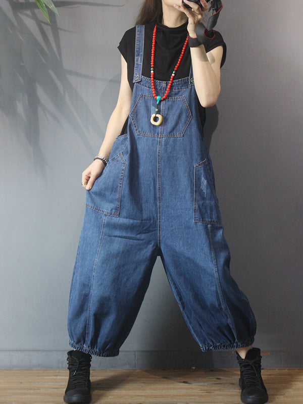 Buykud - Casual Solid Color Denim Cotton Jumpsuit