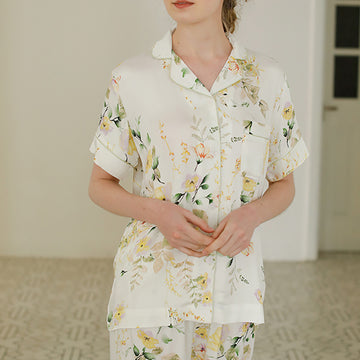 Buykud - Flower Printed Summer Viscose Pajamas