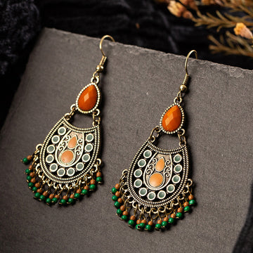 Buykud - Geometric Drop-shaped Gemstone Earrings