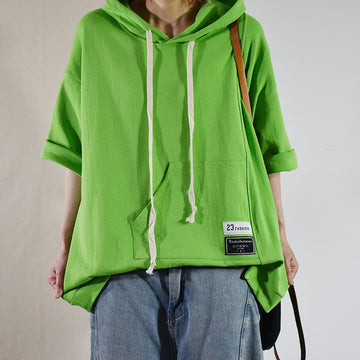 Buykud - Half Sleeve Casual Green Hooded T-shirt