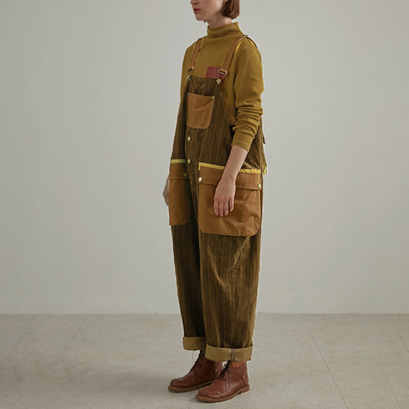 Buykud - Retro Fashion Big Pocket Jumpsuit